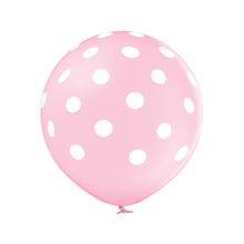 Balónek světle růžový s potiskem bílé tečky velký 60 cm