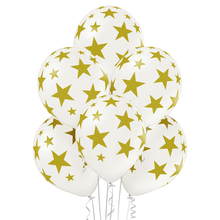 Balónky bílé s potiskem zlaté hvězdy 6 ks 30 cm