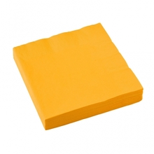Ubrousky tmavě žluté 20ks 3-vrstvé 33cm x 33cm