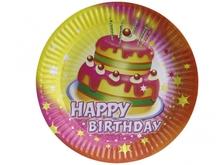 Talíře šťastné narozeniny dort 8ks 23cm