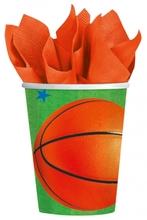 Basketbal kelímky papírové 8ks 0,25l