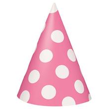 Čepice růžovo - bílé 8ks