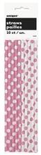Slámky 10ks růžovo - bílé