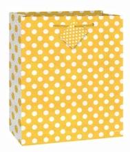 Taška na dárek žluto - bílé tečky