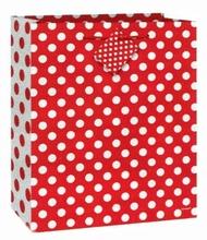 Taška na dárek červeno - bílé tečky