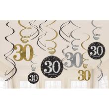 Závěsné dekorace 30 lesklé 12 ks