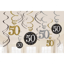 Závěsné dekorace 50 lesklé 12 ks