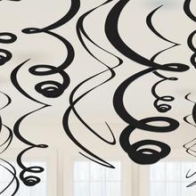 Závěsná dekorace černá 12ks 55,8 cm