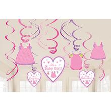 Závěsné dekorace It´s a Baby Girl! 12 ks
