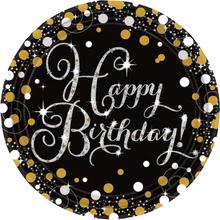 Talíře šťastné narozeniny stříbrno-zlaté 8 ks 23 cm
