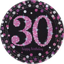 Talíře 30. narozeniny pink 8 ks 23 cm