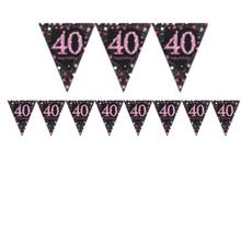 Vlajka 40. narozeniny pink 4 m