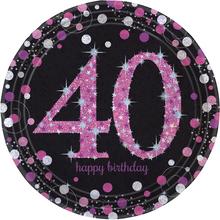 Talíře 40. šťastné narozeniny pink 8 ks 23 cm