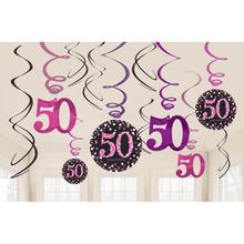 Závěsné dekorace pink 50 lesklé 12 ks
