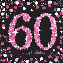Ubrousky 60. narozeniny 16 ks 33 cm x 33 cm