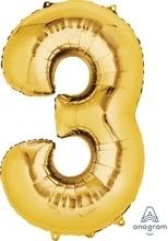 Balónek fóliový narozeniny číslo 3 zlatý 86cm