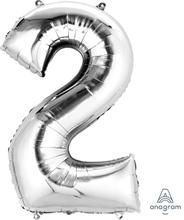 Balónek fóliový narozeniny číslo 2 stříbrný 86cm