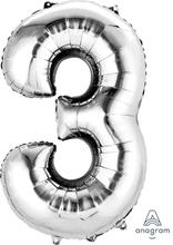 Balónek fóliový narozeniny číslo 3 stříbrný 86cm