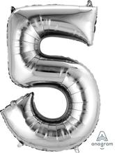 Balónek fóliový narozeniny číslo 5 stříbrný 86cm