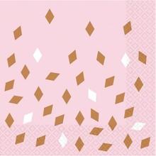 Ubrousky růžovo-zlaté 16 ks 33 cm x 33 cm