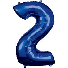 Balónky fóliové narozeniny číslo 2 modré 86cm