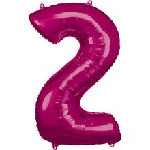 Balónky fóliové narozeniny číslo 2 růžové 86cm