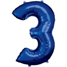 Balónky fóliové narozeniny číslo 3 modré 86cm