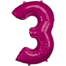 Balónky fóliové narozeniny číslo 3 růžové 86cm