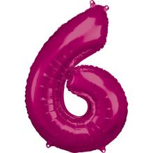 Balónky fóliové narozeniny číslo 6 růžové 86cm