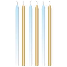 Dortové svíčky světle modré a zlaté s držáky 6 ks 12 cm
