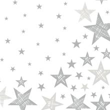 Ubrousky bílé s hvězdami 20 ks 3-vrstvé 33 cm x 33 cm Shining Star White