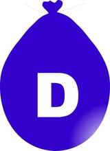 Balónek písmeno D modré