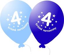 Narozeninové balónky modré s potiskem 4 - 5 ks