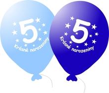 Narozeninové balónky modré s potiskem 5 - 5 ks