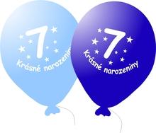 Narozeninové balónky modré s potiskem 7 - 5 ks