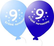 Narozeninové balónky modré s potiskem 9 - 5 ks