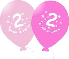 Narozeninové balónky růžové s potiskem 2 - 5 ks