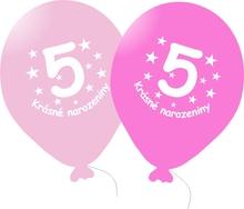 Narozeninové balónky růžové s potiskem 5 - 5 ks