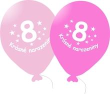 Narozeninové balónky růžové s potiskem 8 - 5 ks