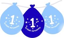 Narozeninové balónky modrý s potiskem 1 visící - 5 ks