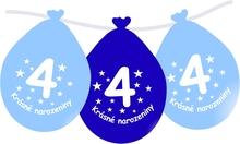 Narozeninové balónky modrý s potiskem 4 visící - 5 ks