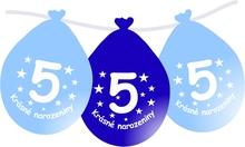 Narozeninové balónky modrý s potiskem 5 visící - 5 ks