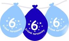 Narozeninové balónky modrý s potiskem 6 visící - 5 ks