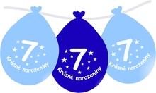 Narozeninové balónky modrý s potiskem 7 visící - 5 ks