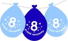 Narozeninové balónky modrý s potiskem 8 visící - 5 ks