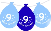 Narozeninové balónky modrý s potiskem 9 visící - 5 ks