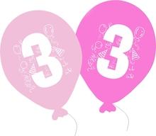 Balonky narozeniny 5ks s číslem 3 pro holky