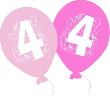 Balonky narozeniny 5ks s číslem 4 pro holky