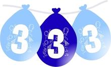 Balonky narozeniny číslo 3, visící 5ks modré