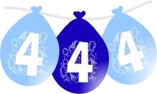Balonky narozeniny číslo 4, visící 5ks modré
